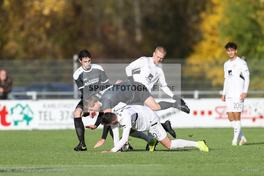 Cedric Fenske, Raffael Kobrowski, Mergim Bajrami, Manuel Römlein, 09.11.2019, Bayernliga Nord, SV Seligenporten, TSV Karlburg - Bild-ID: 2269683