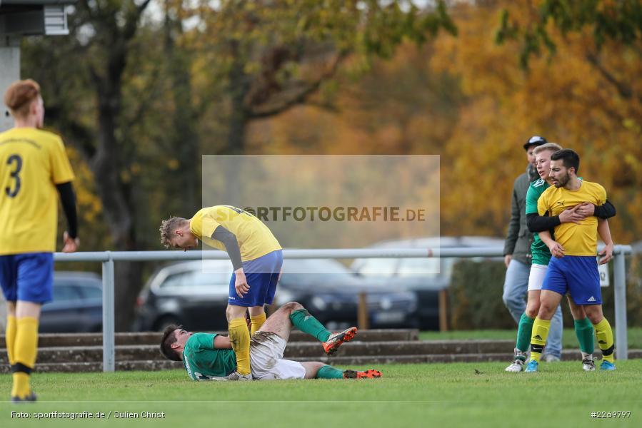 Niklas Breust, Lars Stegerwald, Luca Schmitt, Yannic Mälzer, Kreisklasse Würzburg Gr. 3, 09.11.2019, SV Sendelbach-Steinbach, FC Gössenheim - Bild-ID: 2269797