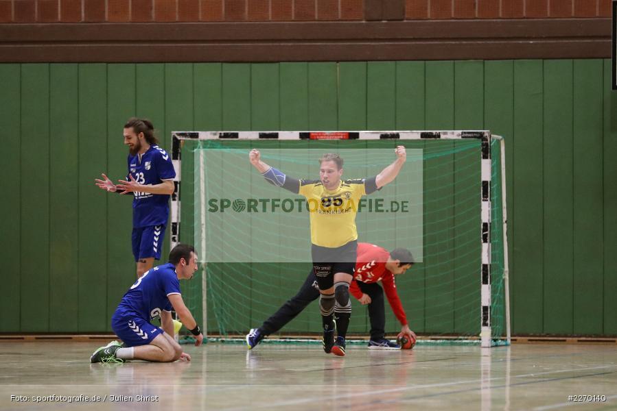Felix Fuchs, Markus Riedmann, Felix Käb, Erwin-Ammann-Halle, Bezirksliga Staffel Nord, 16.11.2019, TV Königsberg, TSV Karlstadt - Bild-ID: 2270140
