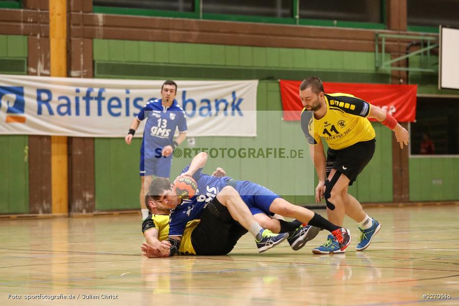 Andreas Kräutner, Florian Schmidt, Sebastian Heun, Erwin-Ammann-Halle, Bezirksliga Staffel Nord, 16.11.2019, TV Königsberg, TSV Karlstadt - Bild-ID: 2270146