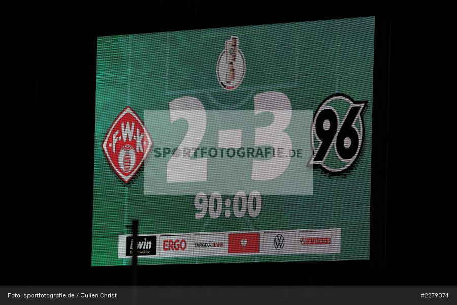 Endstand Anzeigetafel, FLYERALARM Arena, Würzburg, 14.09.2020, DFB, sport, action, Fussball, Deutschland, September 2020, DFB-Pokal, Hannover 96, FC Würzburger Kickers - Bild-ID: 2279074