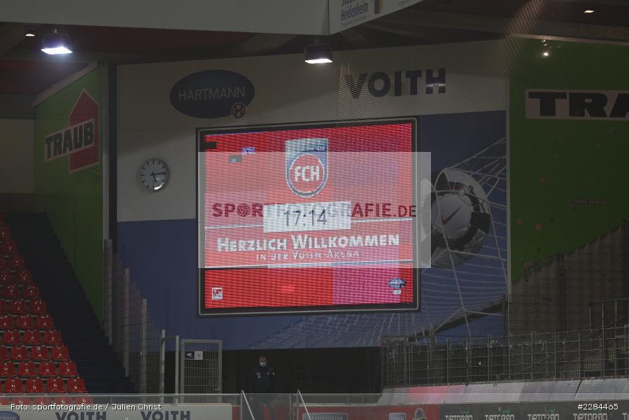FCH, Herzlich Willkommen, Infotafel, Voith-Arena, Heidenheim, 06.11.2020, DFL, sport, action, Fussball, Deutschland, November 2020, Saison 2020/2021, Bundesliga, 2. Bundesliga, FC Würzburger Kickers, 1. FC Heidenheim - Bild-ID: 2284465