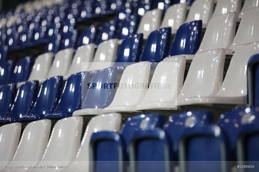 Blau weiss, Tribüne, Leer, Sitze, Leere Sitzschalen, Merck-Stadion am Böllenfalltor, Darmstadt, 27.11.2020, DFL, sport, action, Fussball, Deutschland, November 2020, Saison 2020/2021, 2. Bundesliga, Eintracht Braunschweig, SV Darmstadt 98 - Bild-ID: 2285406