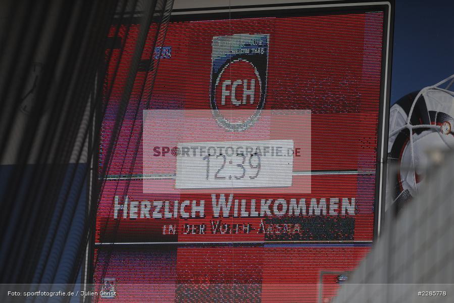 Infotafel, Anzeigetafel, Voith-Arena, Heidenheim, 12.12.2020, DFL, sport, action, Fussball, Deutschland, Dezember 2020, Saison 2020/2021, 2. Bundesliga, Hannover 96, 1. FC Heidenheim 1846 - Bild-ID: 2285778