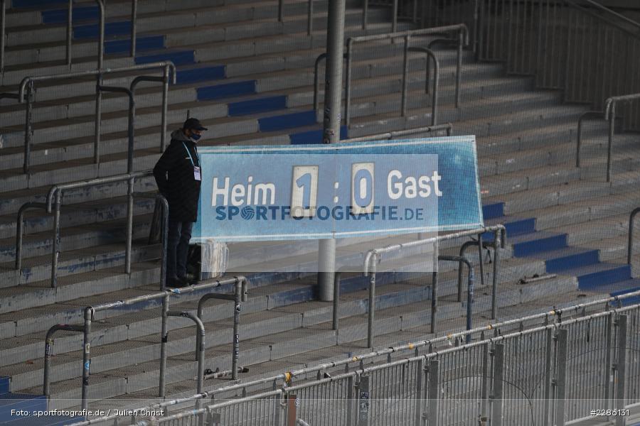 Anzeigetafel, Merck-Stadion, Darmstadt, 19.12.2020, DFL, sport, action, Fussball, Deutschland, Dezember 2020, Saison 2020/2021, 2. Bundesliga, FC Würzburger Kickers, SV Darmstadt 98 - Bild-ID: 2286131