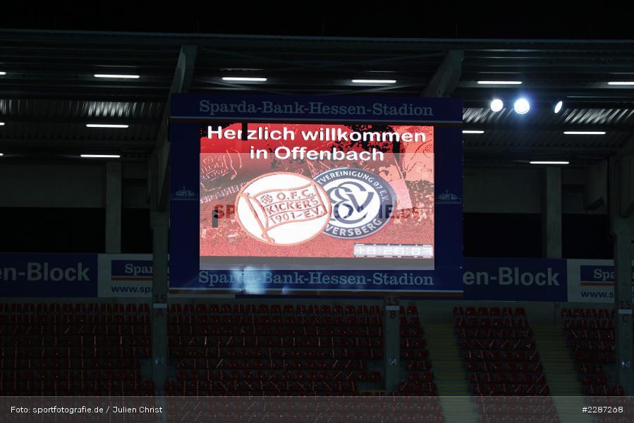 LED, Infotafel, Anzeigetafel, Sparda-Bank-Hessen-Stadion, Offenbach, 20.01.2021, sport, action, Fussball, Deutschland, Januar 2021, Saison 2020/2021, SV07, OFC, Regionalliga Südwest, Regionalliga, SV 07 Elversberg, Kickers Offenbach - Bild-ID: 2287268