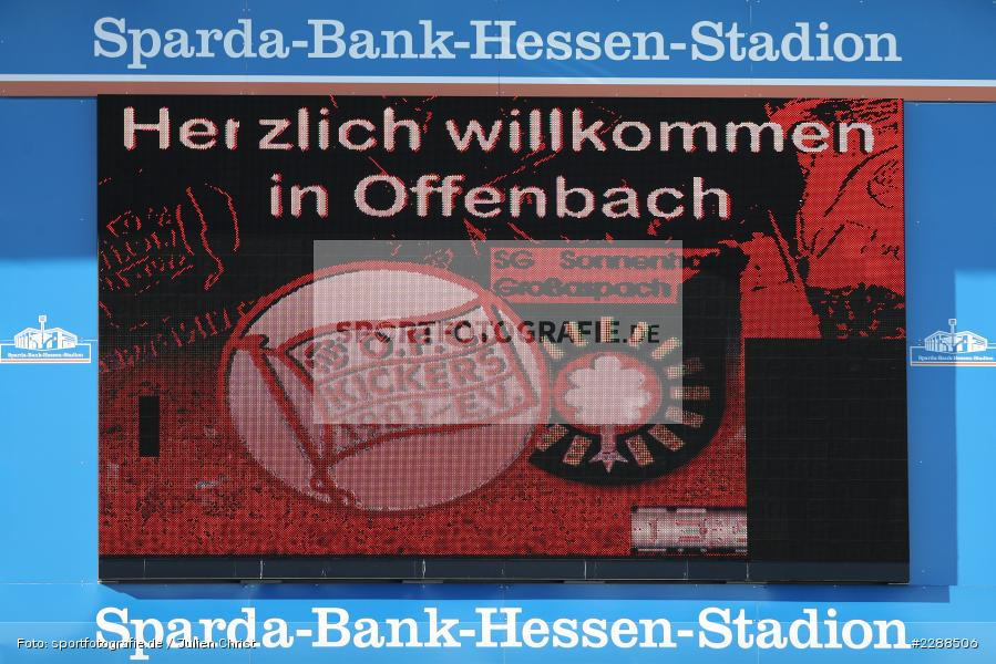 LED-Screen, Aspach, Sparda-Bank, Anzeigetafel, sport, action, Sparda-Bank-Hessen-Stadion, Saison 2020/2021, SG Sonnenhof Großaspach, Regionalliga Südwest, Regionalliga, Offenbach, OFC, Kickers Offenbach, Fussball, Februar 2021, Deutschland, DFL, 4. Liga, 13.02.2021 - Bild-ID: 2288506