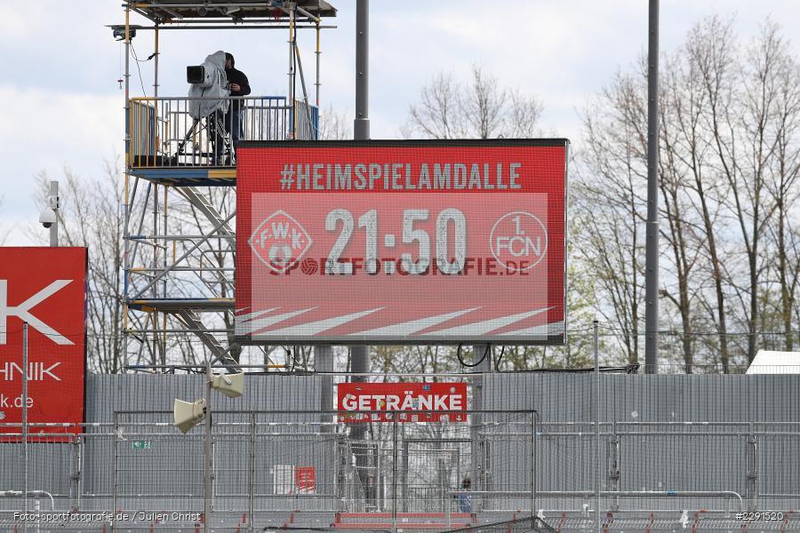 #HEIMSPIELAMDALLE, LED, Anzeige, Infotafel, Heimspiel am Dalle, FLYERALARM Arena, Würzburg, 11.04.2021, DFL, sport, action, Fussball, Deutschland, April 2021, Saison 2020/2021, FCN, FWK, Bundesliga, 2. Bundesliga, 1. FC Nürnberg, FC Würzburger Kickers - Bild-ID: 2291520