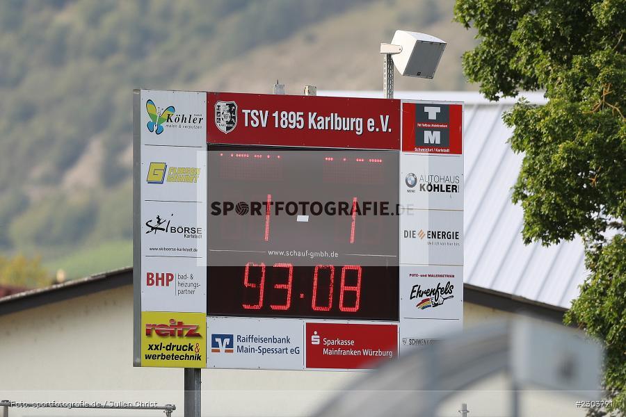 Display, Endstand, Anzeigetafel, Sportplatz, Karlburg, 21.08.2021, BFV, sport, action, Fussball, Deutschland, August 2021, Bayernliga Nord, Saison 2021/2022, ATSV, TSV, ATSV Erlangen, TSV Karlburg - Bild-ID: 2303791
