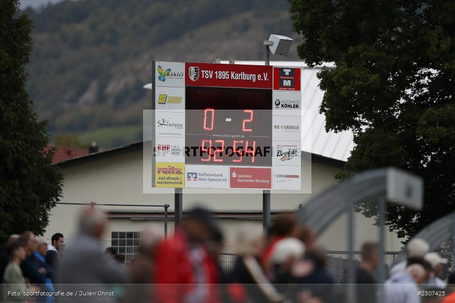 Anzeigetafel, Sportplatz, Karlburg, 19.09.2021, BFV, sport, action, Fussball, Deutschland, September 2021, Saison 2021/2022, SCF, TSV, Bayernliga Nord, 1. SC Feucht, TSV Karlburg - Bild-ID: 2307425